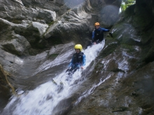 Slidings at the Belle aux Bois canyoning, Megève
